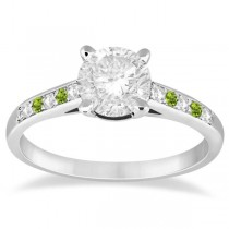 Cathedral Peridot & Diamond Engagement Ring 18k White Gold (0.20ct)