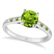 Cathedral Peridot & Diamond Engagement Ring Platinum (1.20ct)