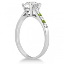 Cathedral Peridot & Diamond Engagement Ring Palladium (0.20ct)