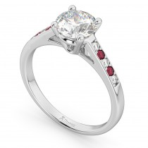 Cathedral Ruby & Diamond Engagement Ring 18k White Gold (0.20ct)