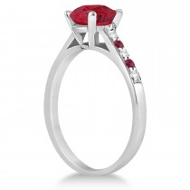 Cathedral Ruby & Diamond Engagement Ring 18k White Gold (1.20ct)