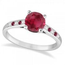 Cathedral Ruby & Diamond Engagement Ring Palladium (1.20ct)