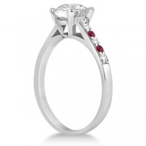 Cathedral Ruby & Diamond Engagement Ring Platinum (0.20ct)