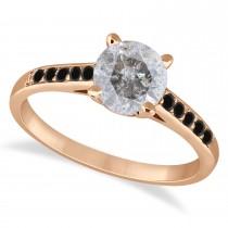 Cathedral Salt & Pepper & Black Diamond Engagement Ring 14k Rose Gold (1.20ct)