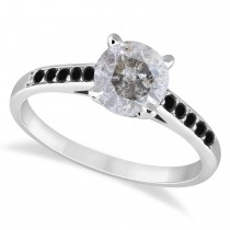 Cathedral Salt & Pepper & Black Diamond Engagement Ring 14k White Gold (1.20ct)