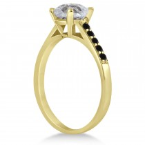 Cathedral Salt & Pepper & Black Diamond Engagement Ring 14k Yellow Gold (1.20ct)