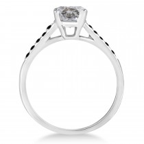 Cathedral Salt & Pepper & Black Diamond Engagement Ring 18k White Gold (1.20ct)