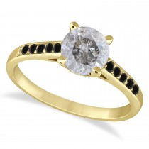 Cathedral Salt & Pepper & Black Diamond Engagement Ring 18k Yellow Gold (1.20ct)