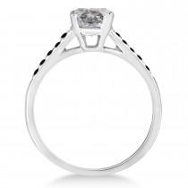 Cathedral Salt & Pepper & Black Diamond Engagement Ring Palladium (1.20ct)