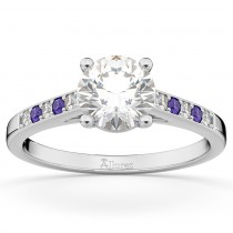 Cathedral Tanzanite & Diamond Engagement Ring 14k White Gold (0.20ct)