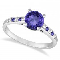 Cathedral Tanzanite & Diamond Engagement Ring 14k White Gold (1.20ct)