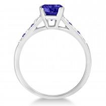 Cathedral Tanzanite & Diamond Engagement Ring 14k White Gold (1.20ct)