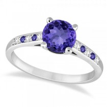 Cathedral Tanzanite & Diamond Engagement Ring Palladium (1.20ct)