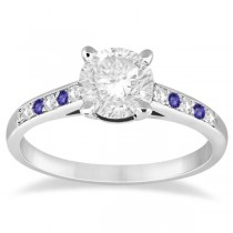 Cathedral Tanzanite & Diamond Engagement Ring Palladium (0.20ct)