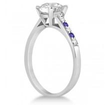 Cathedral Tanzanite & Diamond Engagement Ring Platinum (0.20ct)