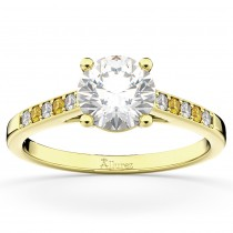 Cathedral Yellow Sapphire & Diamond Engagement Ring 18k Yellow Gold (0.20ct)
