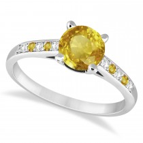 Cathedral Yellow Sapphire & Diamond Engagement Ring 18k White Gold (1.20ct)