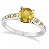 Cathedral Yellow Sapphire & Diamond Engagement Ring Palladium (1.20ct)