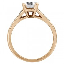 Cathedral Pave Lab Grown Diamond Engagement Ring Setting 14k Rose Gold (0.20ct)