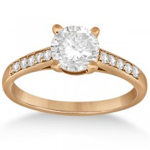 Cathedral Pave Lab Grown Diamond Engagement Ring Setting 18k Rose Gold (0.20ct)