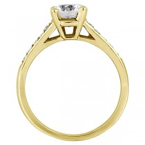 Cathedral Pave Lab Grown Diamond Engagement Ring Setting 18k Yellow Gold (0.20ct)