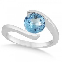Tension Set Solitaire Blue Topaz Engagement Ring 14k White Gold 2.00ct