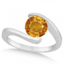 Tension Set Solitaire Citrine Engagement Ring 14k White Gold 1.00ct