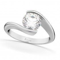 Tension Set Solitaire Diamond Engagement Ring 14k White Gold 1.25ct