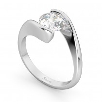 Tension Set Solitaire Moissanite Engagement Ring 14k White Gold 1.00ct