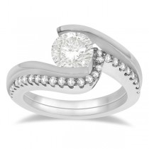 Tension Set Diamond Engagement Ring & Band Bridal Set 14K White Gold