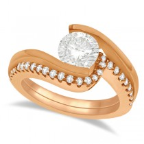 Tension Set Diamond Engagement Ring & Band Bridal Set 18K Rose Gold