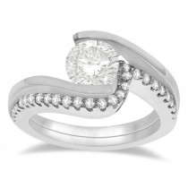 Tension Set Diamond Engagement Ring & Band Bridal Set 18K White Gold