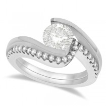 Tension Set Diamond Engagement Ring & Band Bridal Set in Palladium