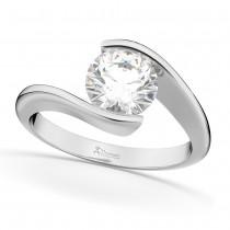 Tension Set Solitaire Diamond Engagement Ring in Palladium 1.50ct