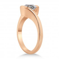 Tension Set Solitaire Salt & Pepper Diamond Engagement Ring 14k Rose Gold 0.50ct