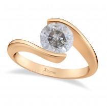 Tension Set Solitaire Salt & Pepper Diamond Engagement Ring 14k Rose Gold 1.50ct