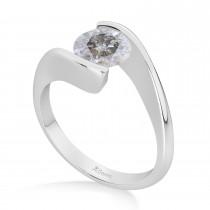 Tension Set Solitaire Salt & Pepper Diamond Engagement Ring 14k White Gold 0.50ct