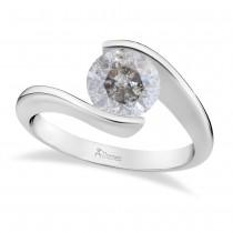 Tension Set Solitaire Salt & Pepper Diamond Engagement Ring 14k White Gold 1.50ct