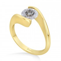 Tension Set Solitaire Salt & Pepper Diamond Engagement Ring 14k Yellow Gold 0.50ct