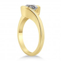 Tension Set Solitaire Salt & Pepper Diamond Engagement Ring 14k Yellow Gold 0.75ct