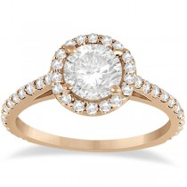 Halo Diamond Cathedral Engagement Ring Setting 14k Rose Gold (0.64ct)