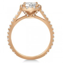 Halo Diamond Cathedral Engagement Ring Setting 18k Rose Gold (0.64ct)