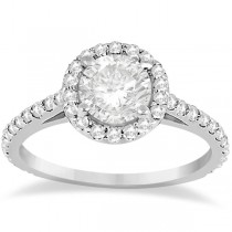 Halo Diamond Cathedral Engagement Ring Setting Palladium (0.64ct)