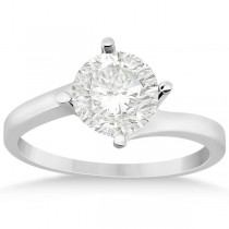 Curved Four-Prong Bypass Solitaire Engagement Ring 18k White Gold
