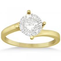 Curved Four-Prong Bypass Solitaire Engagement Ring 18k Yellow Gold