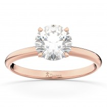 Four-Prong 14k Rose Gold Solitaire Engagement Ring Setting