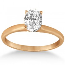 Four-Prong 18k Rose Gold Solitaire Engagement Ring Setting