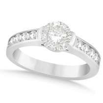 Channel Set Diamond Accented Engagement Ring 14k White Gold (1.40ct)