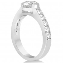 Channel Set Diamond Accented Engagement Ring 14k White Gold (1.40ct)|escape