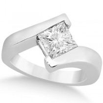 Solitaire Princess Moissanite Engagement Ring 14k White Gold (0.50ct)